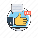 chat bubble, chatting, social campaign, social media, thumbs up icon