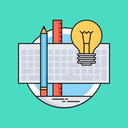 artwork, bulb, graphic design, pencil, scale icon