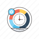 clock, cog, planning, schedule, time management icon