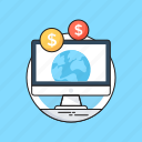 dollar, e commerce, electronic business, globe, monitor icon