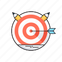 bullseye, dartboard, goal, mission, targeting icon
