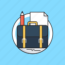 bag, case, document, pencil, portfolio icon