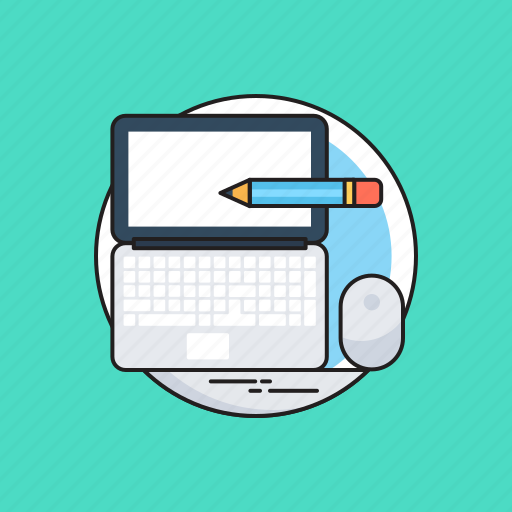 laptop, mouse, office work, pencil, work icon