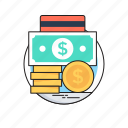 banknotes, coin, credit card, dollar, payment methods icon