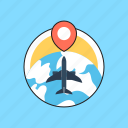 airplane, business tour, business travel, globe, trip icon