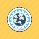 cog, global, globe, internet, web development icon