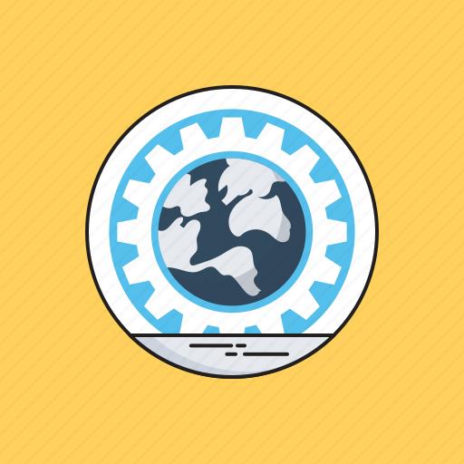 Cog, global, globe, internet, web development icon - Download on Iconfinder