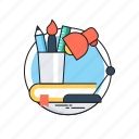 desk, stationery, studio, table lamp, workplace icon