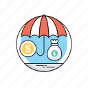 dollar, insurance, money sack, safe investment, umbrella icon
