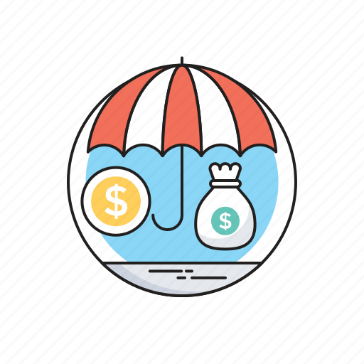 Dollar, insurance, money sack, safe investment, umbrella icon - Download on Iconfinder