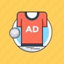 ad, advert, advertisement, shirt, sponsored ads icon
