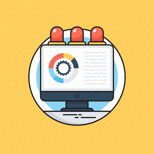 Data processing, development, doughnut graph, graph, monitor icon - Download on Iconfinder
