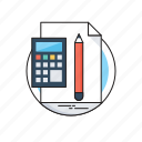 accounting, accounts, calculation, calculator, pencil icon