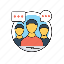 discussion, focus group, interview, meeting, teamwork icon