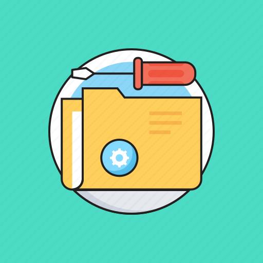 data folder, folder, repair service, screwdriver, tech service icon