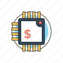 business, digital currency, dollar, money, processing chip icon