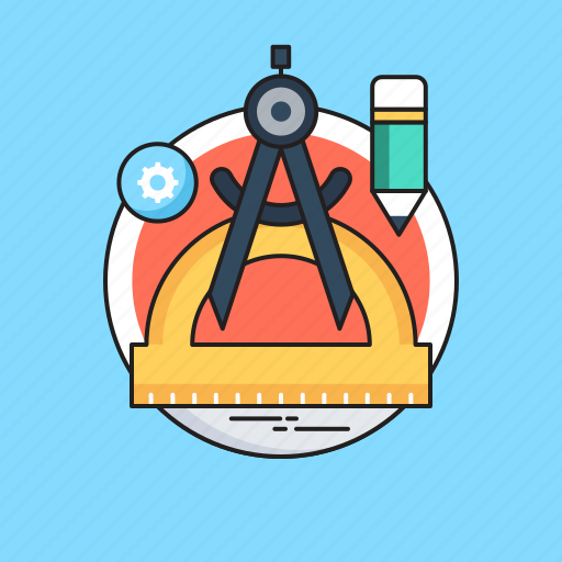 compass tool, degree tool, designing, draft tools, pencil icon