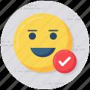 cheerful, emoji, emotag, positive emoticon, smiley icon