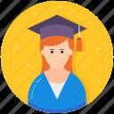 graduate, graduation, pupil, scholar, student icon