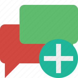 add, bubble, chat, communication, message, talk icon