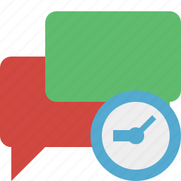 bubble, chat, clock, communication, message, talk icon