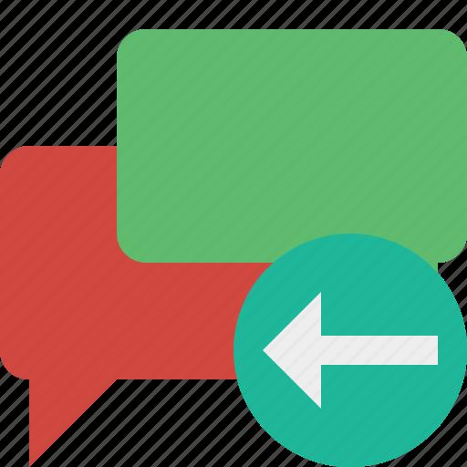 bubble, chat, communication, message, previous, talk icon