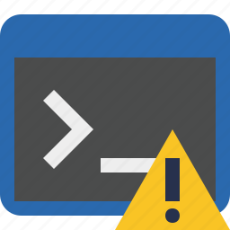 cmd, command, prompt, shell, terminal, warning icon