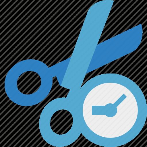 clock, cut, scissors, tools icon