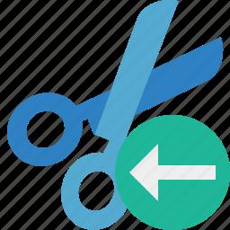 cut, previous, scissors, tools icon