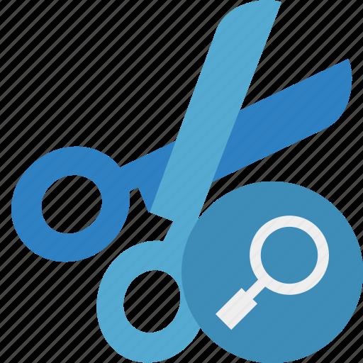 cut, scissors, search, tools icon