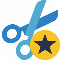 cut, scissors, star, tools icon