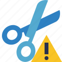 cut, scissors, tools, warning icon