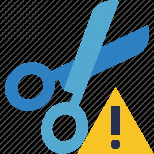 cut, scissors, tools, warning icon