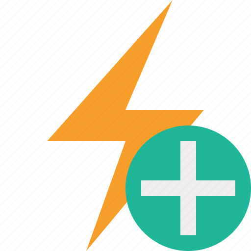add, charge, energy, flash, power, thunder icon