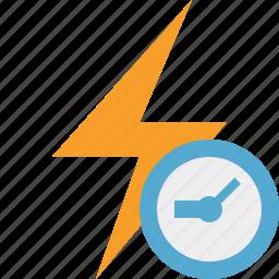 charge, clock, energy, flash, power, thunder icon