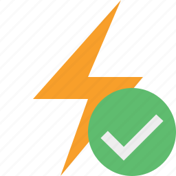 charge, energy, flash, ok, power, thunder icon