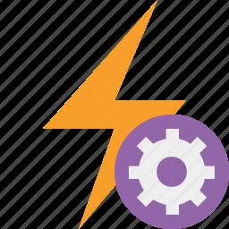 charge, energy, flash, power, settings, thunder icon