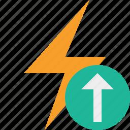 charge, energy, flash, power, thunder, upload icon
