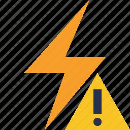 charge, energy, flash, power, thunder, warning icon