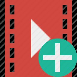 add, cinema, film, media, movie, video icon