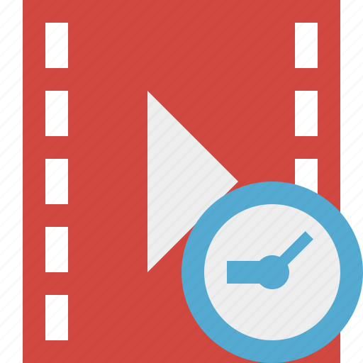 cinema, clock, film, media, movie, video icon