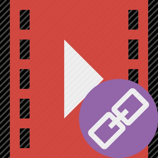 cinema, film, link, media, movie, video icon