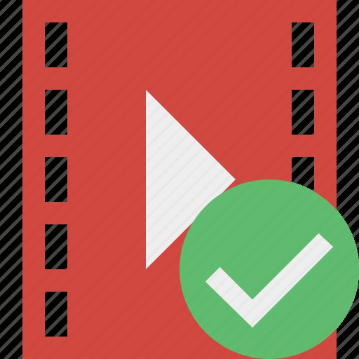 cinema, film, media, movie, ok, video icon