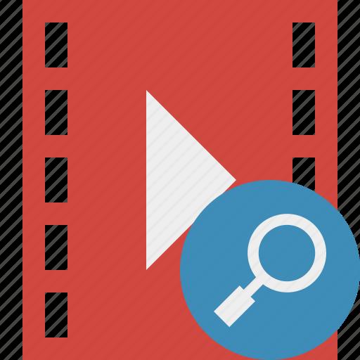 cinema, film, media, movie, search, video icon