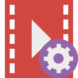 cinema, film, media, movie, settings, video icon