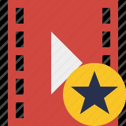 cinema, film, media, movie, star, video icon
