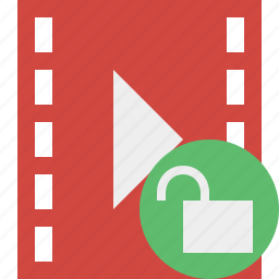 cinema, film, media, movie, unlock, video icon