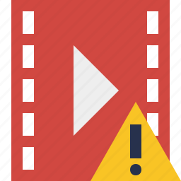 cinema, film, media, movie, video, warning icon