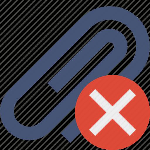 attach, attachment, cancel, clip, paper, paperclip icon