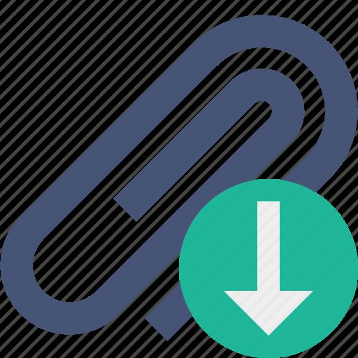 attach, attachment, clip, download, paper, paperclip icon
